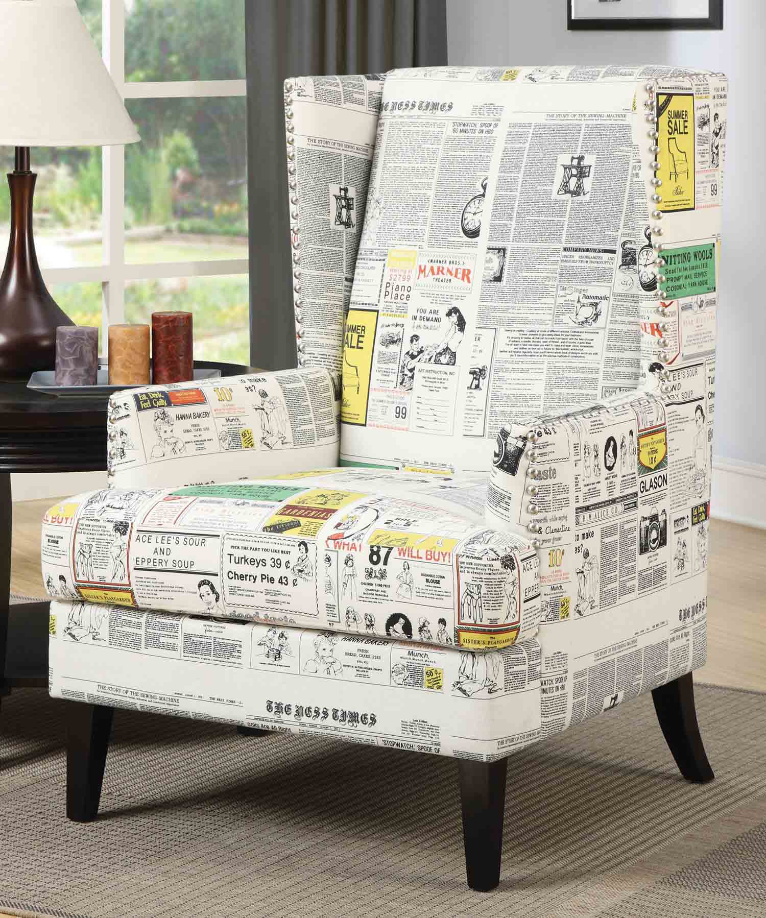 Coaster 902179 Accent Chair - White Newspaper Print