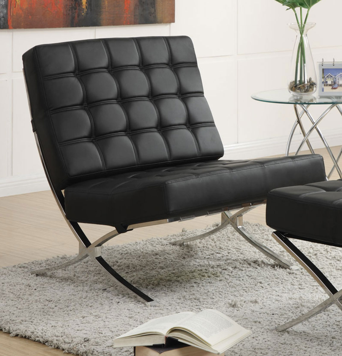 Coaster 902181 Accent Chair - Black/Chrome