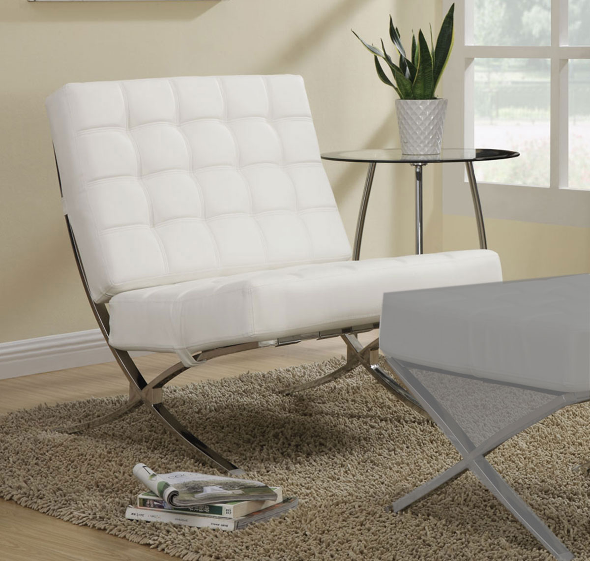 Coaster 902183 Accent Chair - White/Chrome