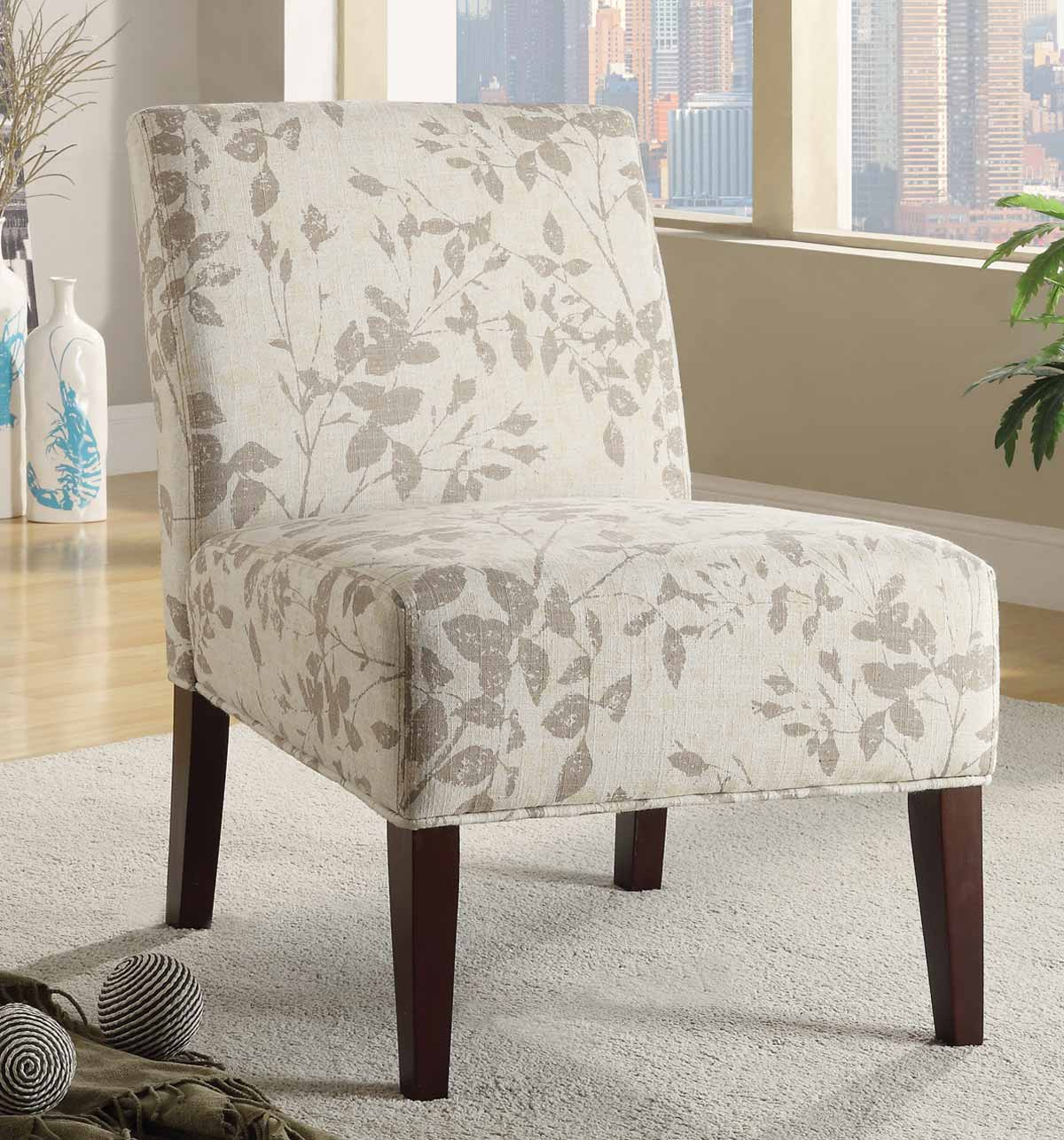 Coaster 902194 Accent Chair - Taupe/Beige Leaf Design