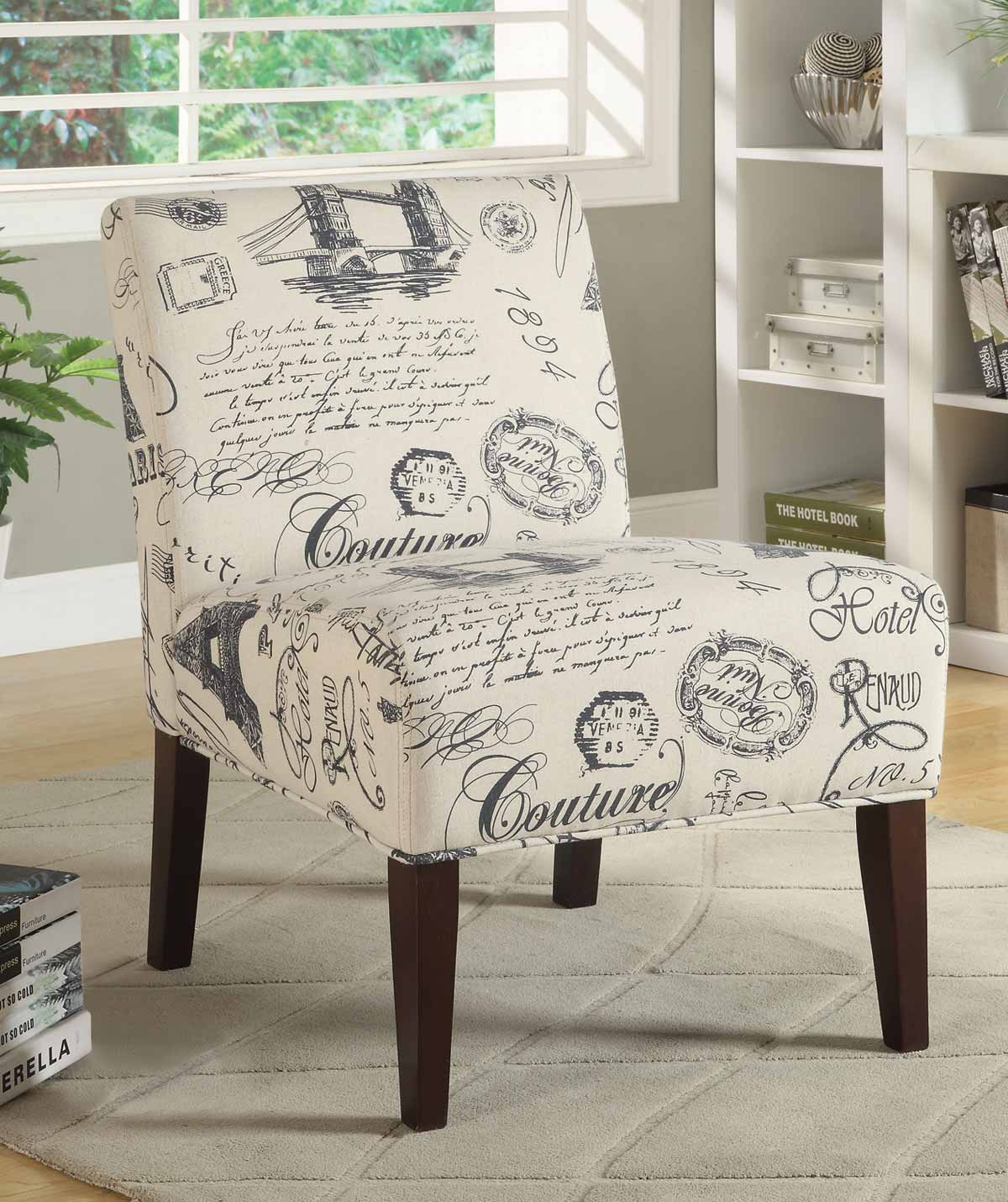 Coaster 902199 Accent Chair - Beige/Navy Script Writing