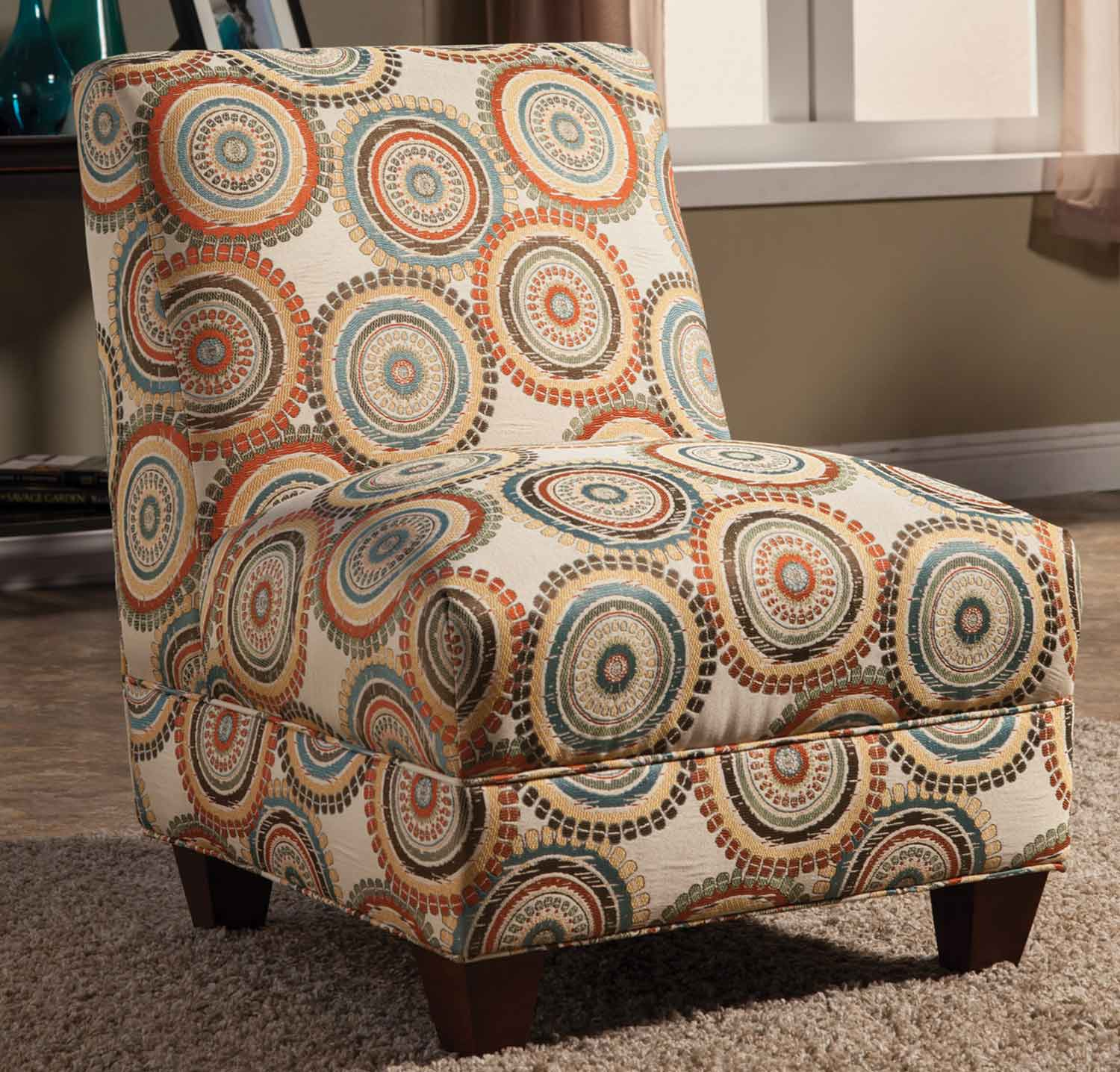 Coaster 902527 Accent Chair - Off White/Orange/Brown