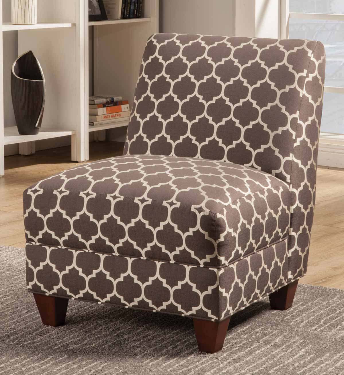 Coaster 902528 Accent Chair - Grey/White Quatrefoil