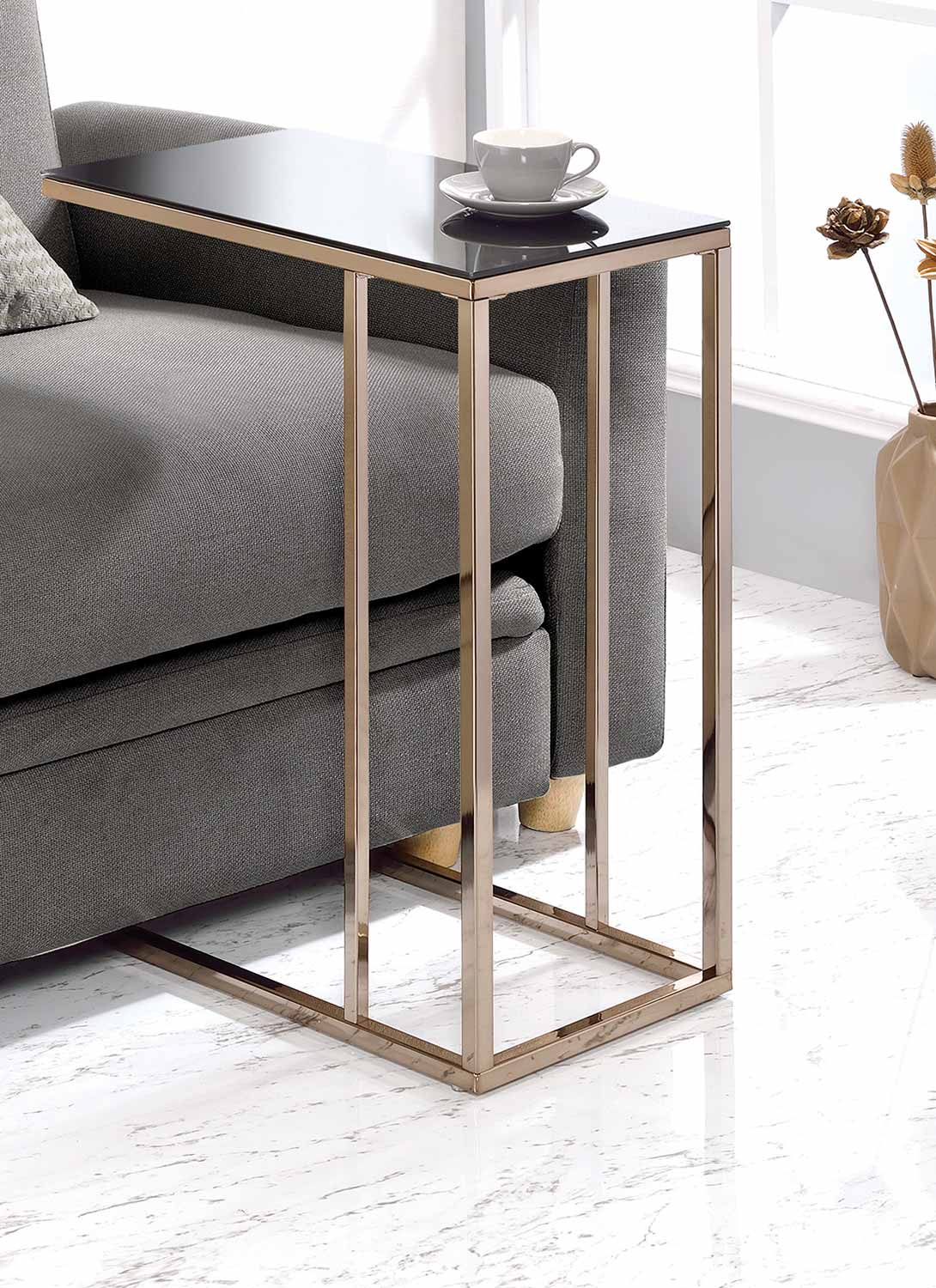Coaster 902928 Accent Table - Black Glass/Chocolate Chrome