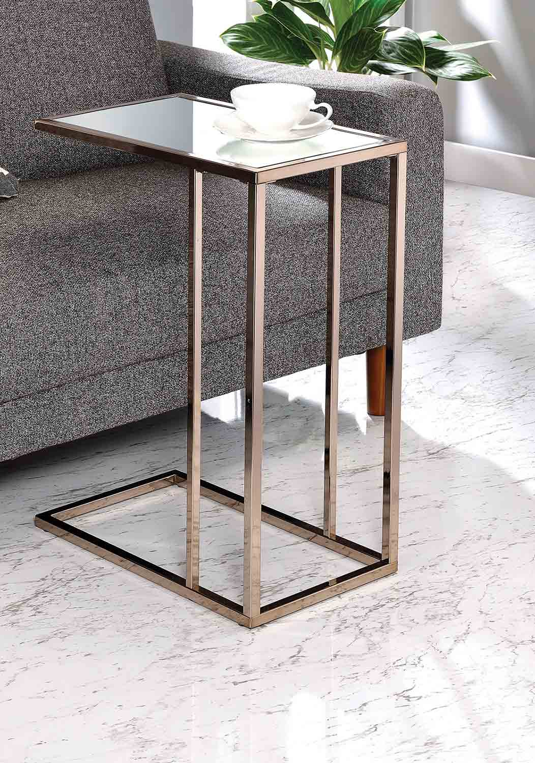 Coaster 902930 Accent Table - Clear/Chocolate Chrome