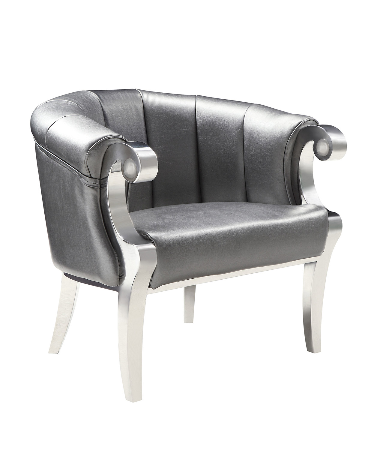 Coaster 903384 Accent Chair - Grey/Chrome