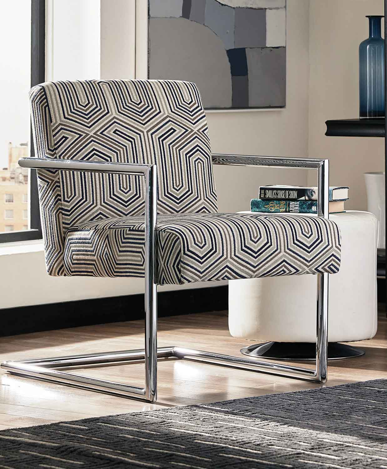 Coaster 903402 Accent Chair - Grey/Blue/Chrome