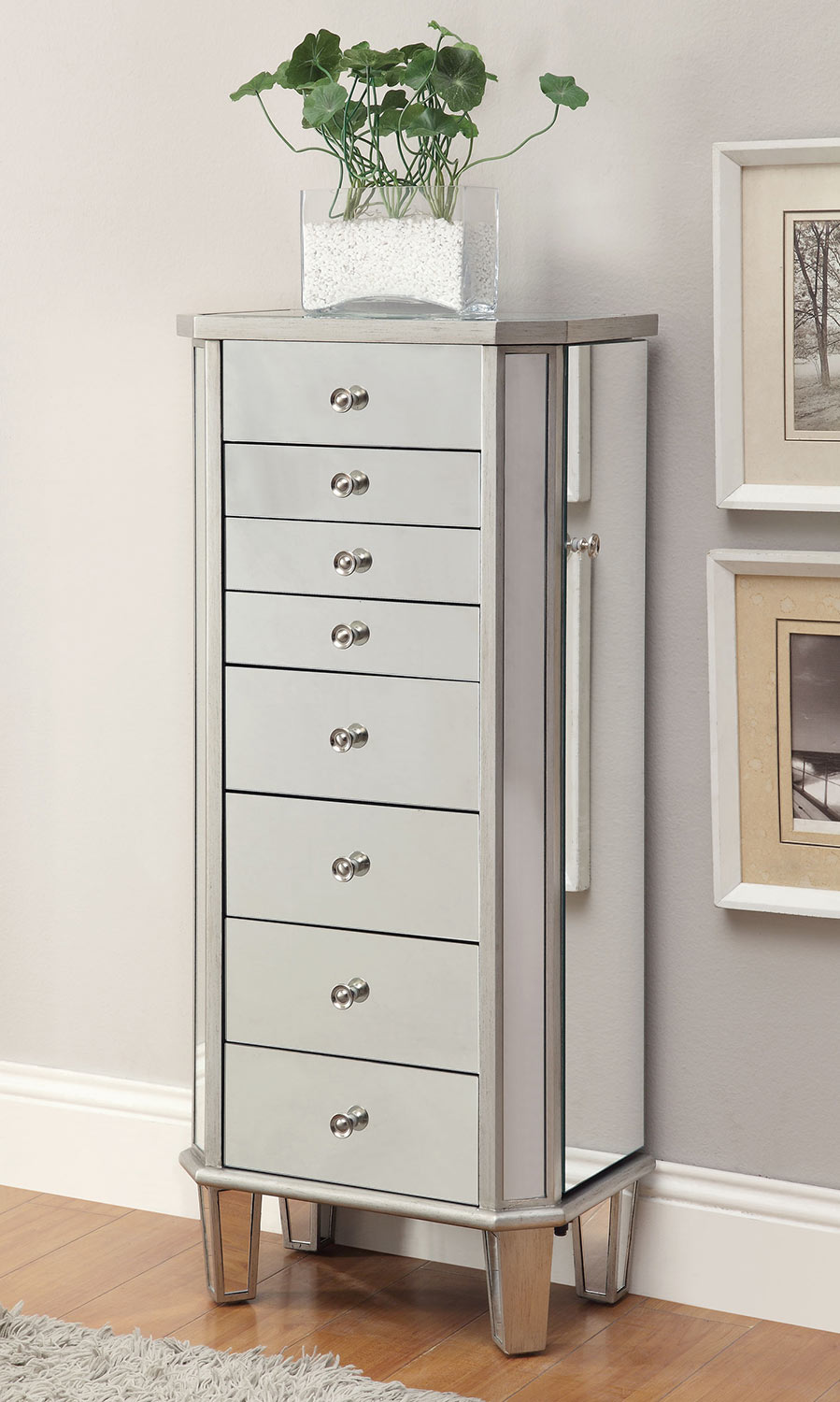 Coaster 903808 Jewelry Armoire - Antique Silver