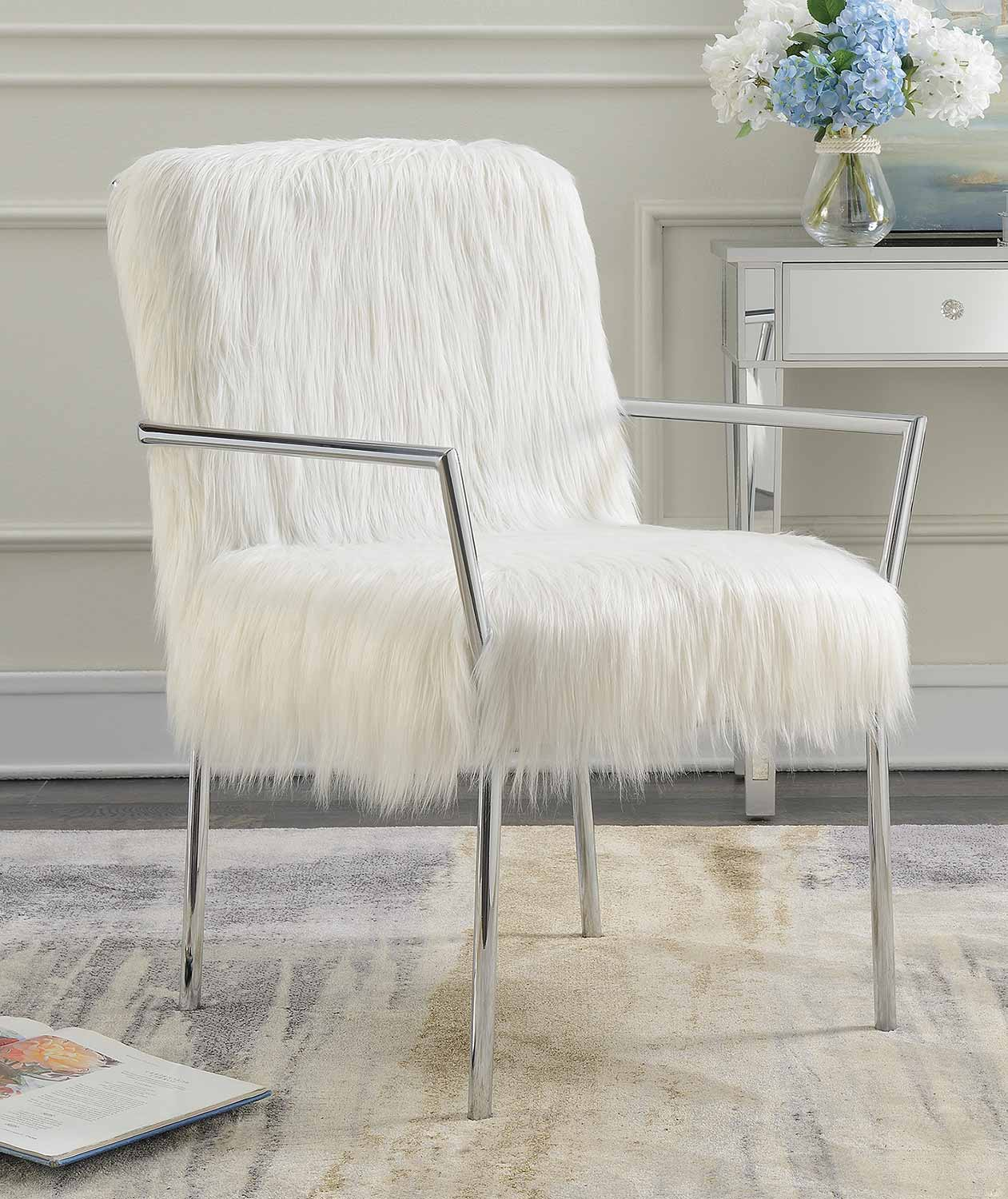 Coaster 904079 Accent Chair - White/Chrome
