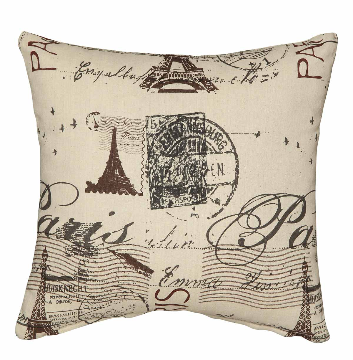 905077 Beige French Script Pillow