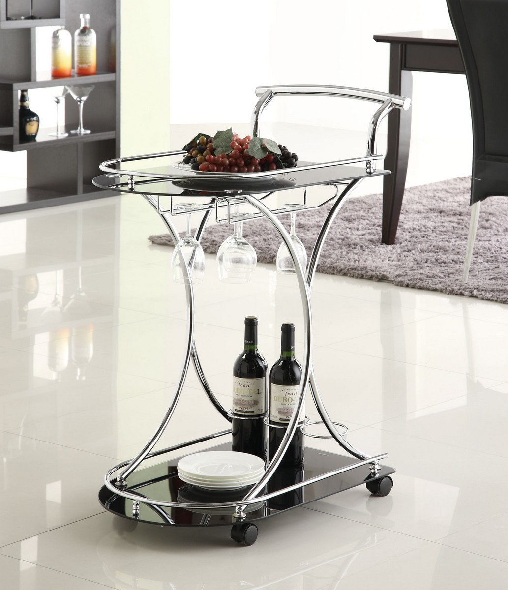 Coaster 910001 Serving Cart - Chrome/Black Glass