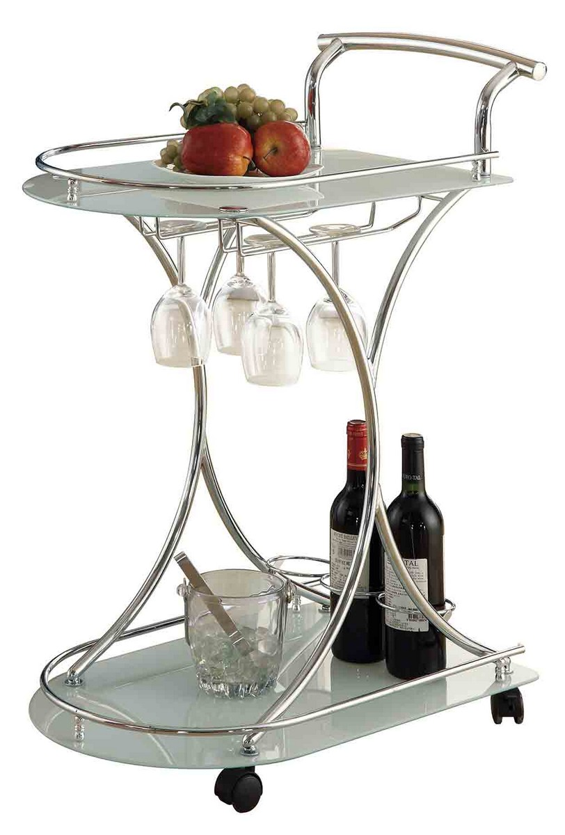 Coaster 910002 Serving Cart - Chrome/Frosted Glass