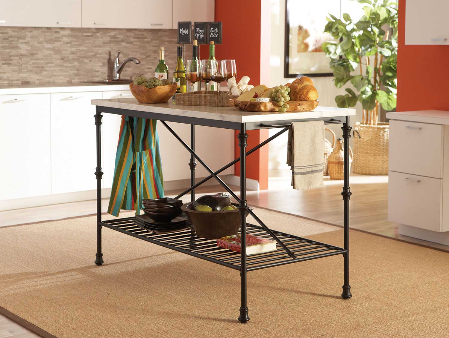 Coaster 910120 Kitchen Island with Faux Marble Top - Black