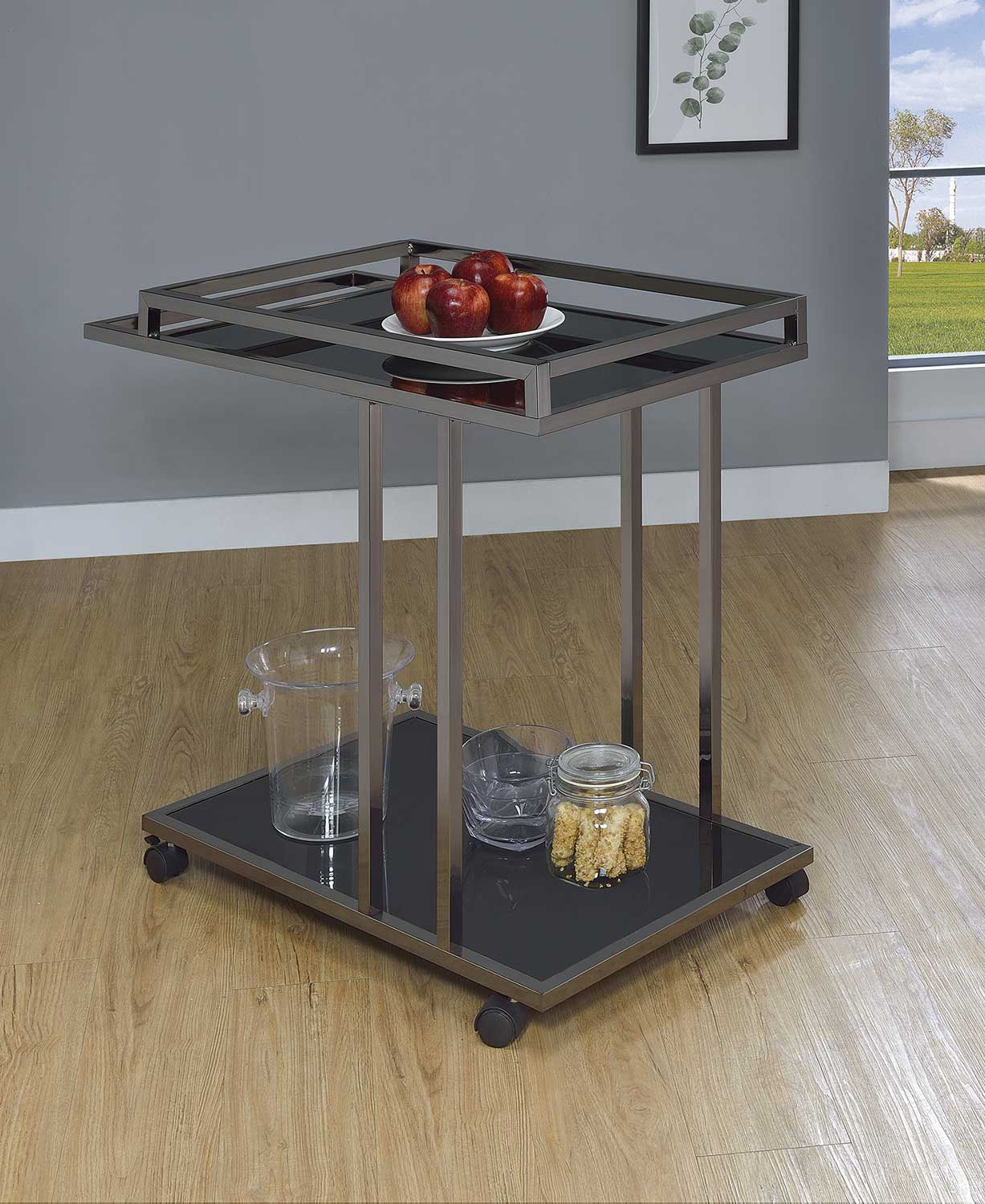 Coaster 910146 Serving Cart - Black Nickel