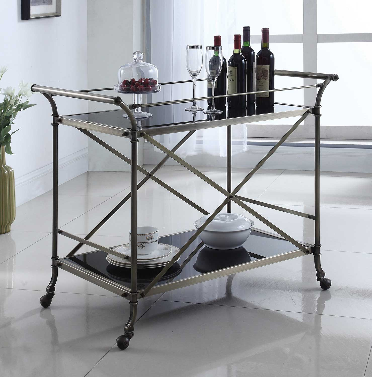 Coaster 910190 Serving Cart - Antique Brass
