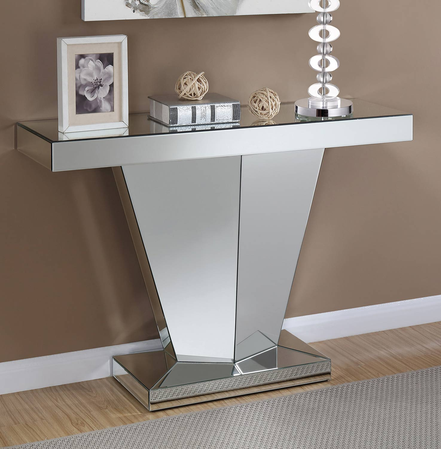 Coaster 930008 Console Table - Clear Mirror