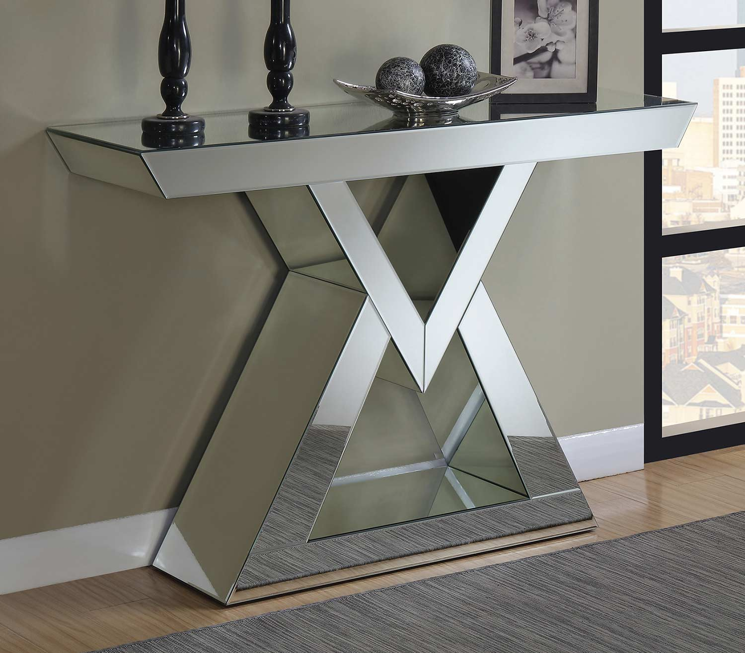 Coaster 930009 Console Table - Clear Mirror