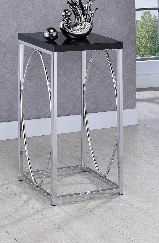 Coaster 930013 Accent Table - Chrome/Black
