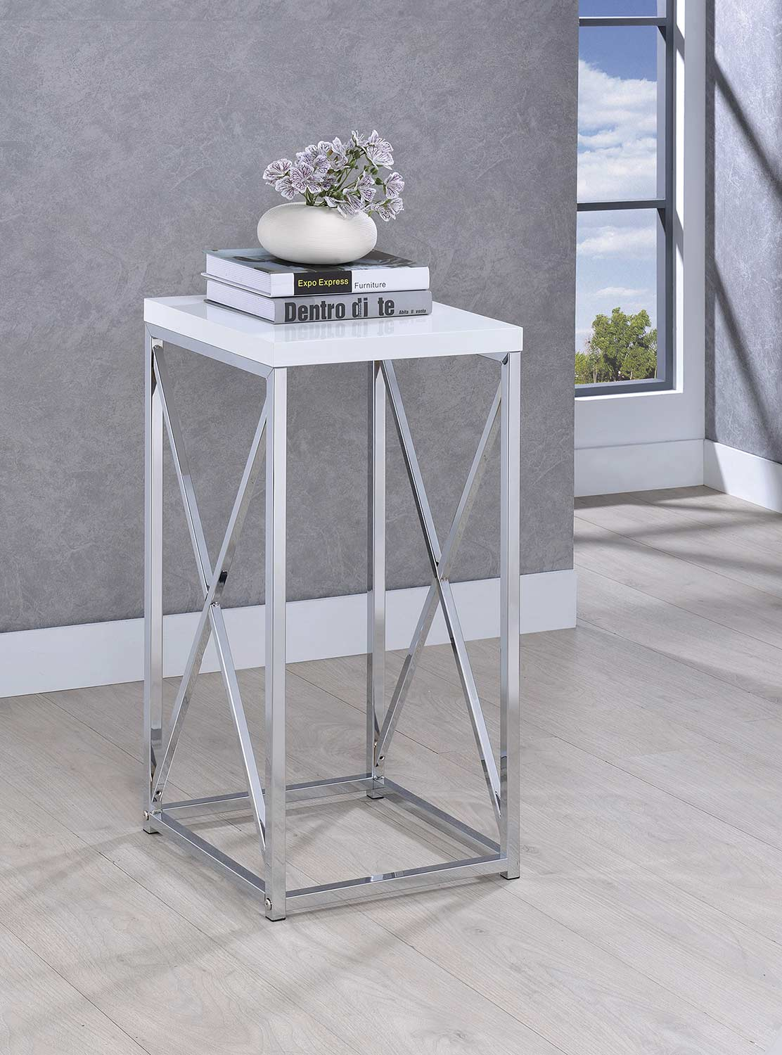 Coaster 930014 Accent Table - Chrome/White