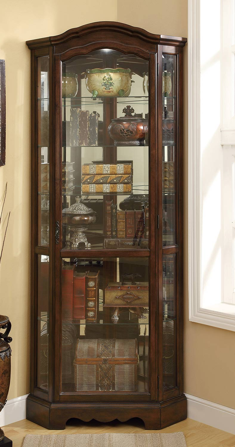 Coaster 950175 Corner Curio Cabinet - Brown