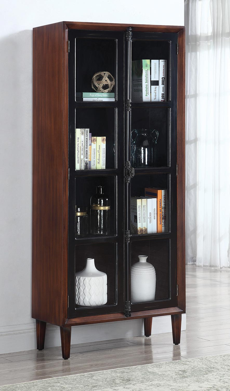 Coaster 950781 Tall Cabinet - Rich Brown/Black