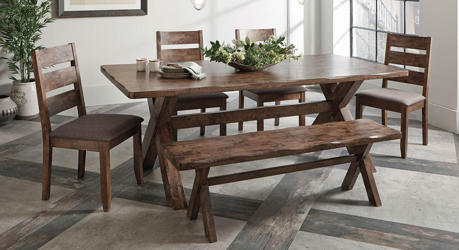 Coaster Alston Rectangular Dining Set - Knotty Nutmeg