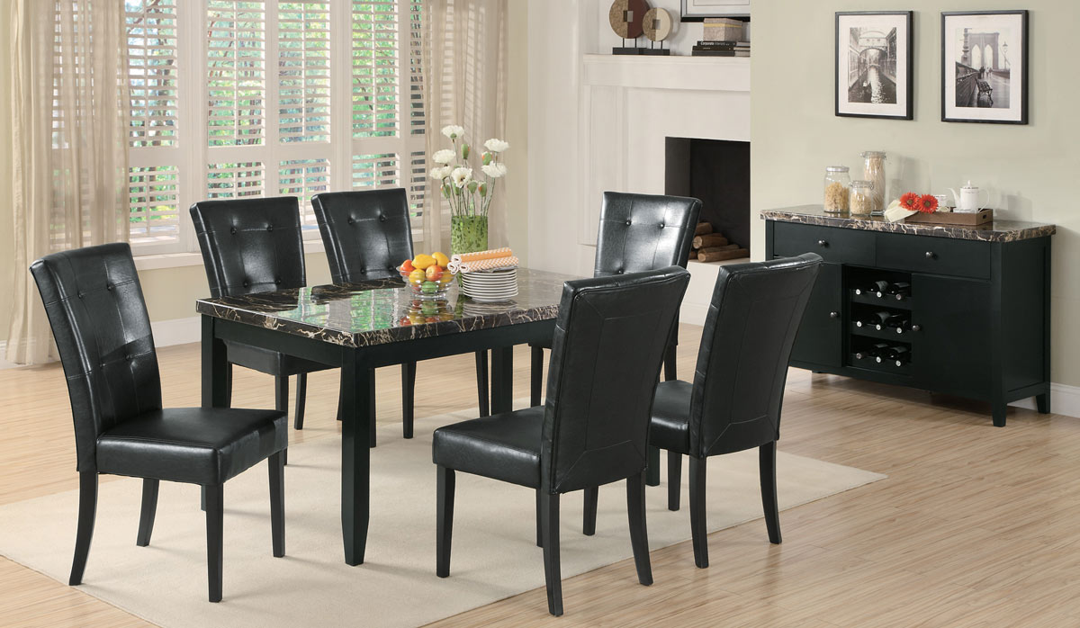 Coaster Anisa Dining Set with Black Marble Top