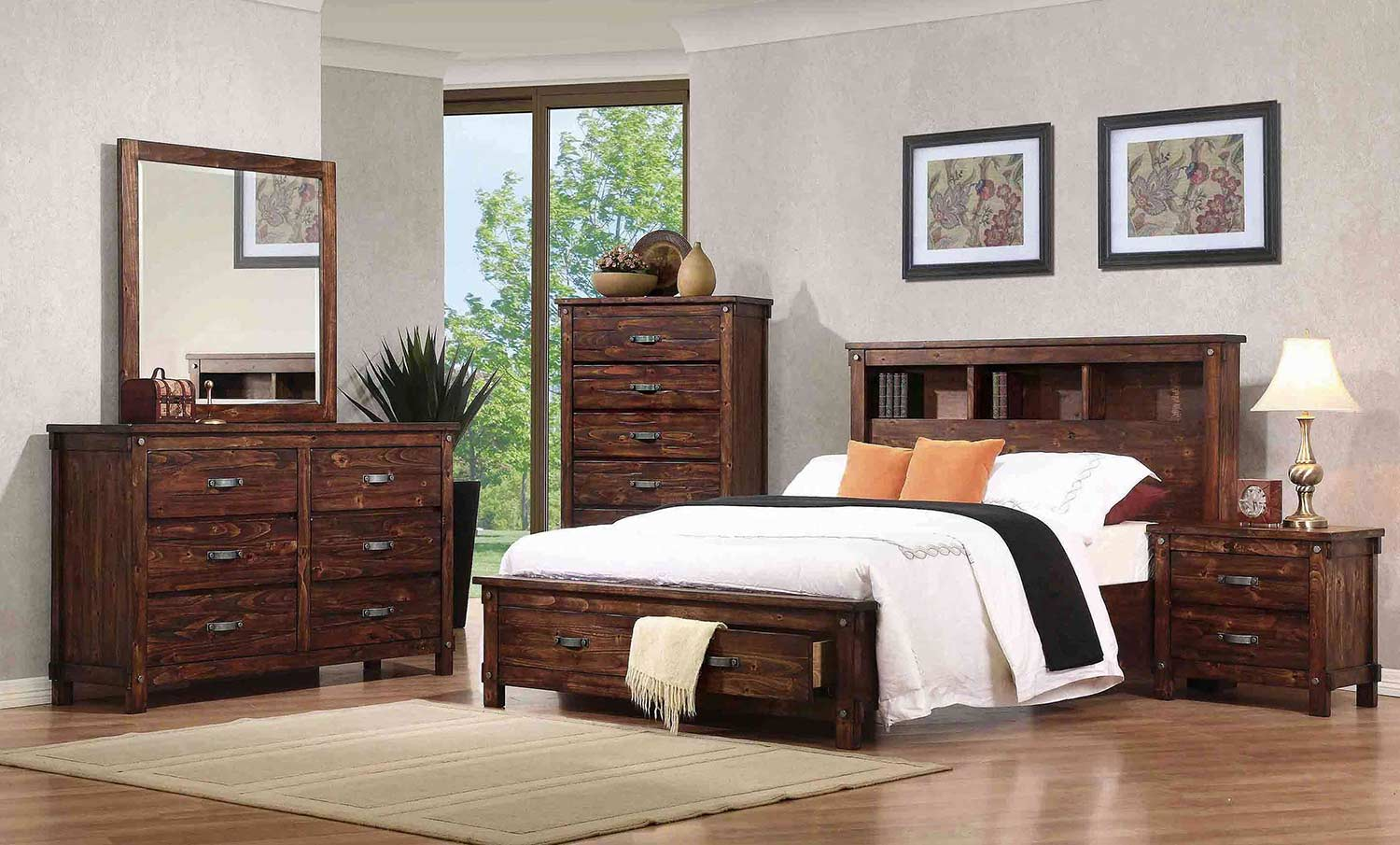 Coaster Noble Bookcase Platform Storage Bedroom Set Rustic Oak B219 2 BEDRO