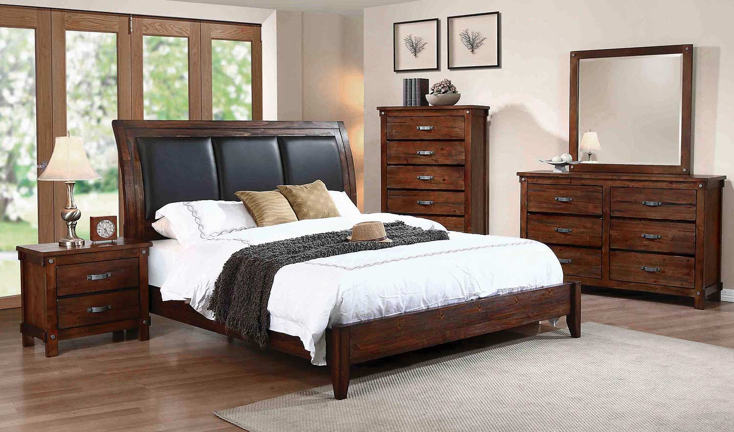 Coaster Noble Upholstered Low Profile Sleigh Bedroom Set - Rustic Oak