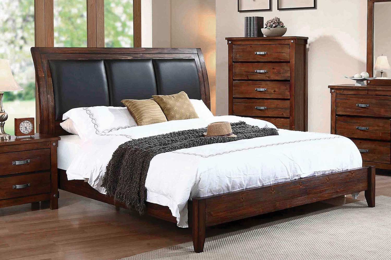 Coaster Noble Upholstered Low Profile Sleigh Bed - Rustic Oak