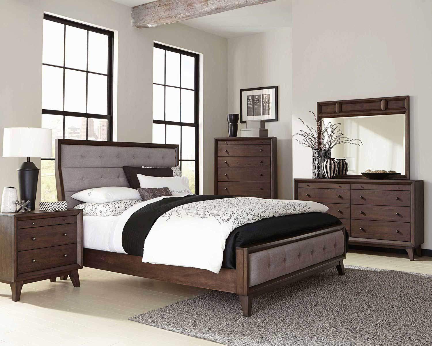 Coaster Bingham Upholstered Low Profile Bedroom Set   Brown Oak
