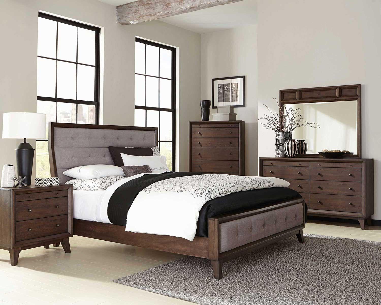 Coaster Bingham Upholstered Low Profile Bedroom Set - Brown Oak