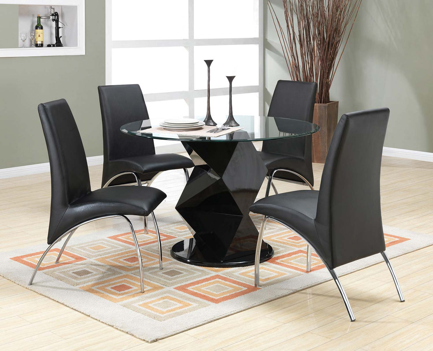 Coaster Barzini Round Glass Dining Set