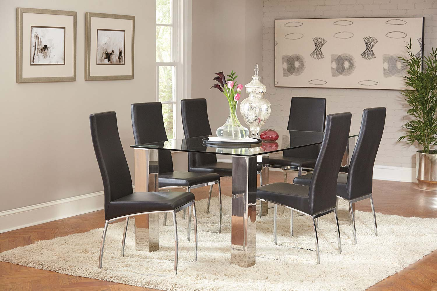 Coaster Bellini Rectangular Glass Dining Set - Stainless Steel