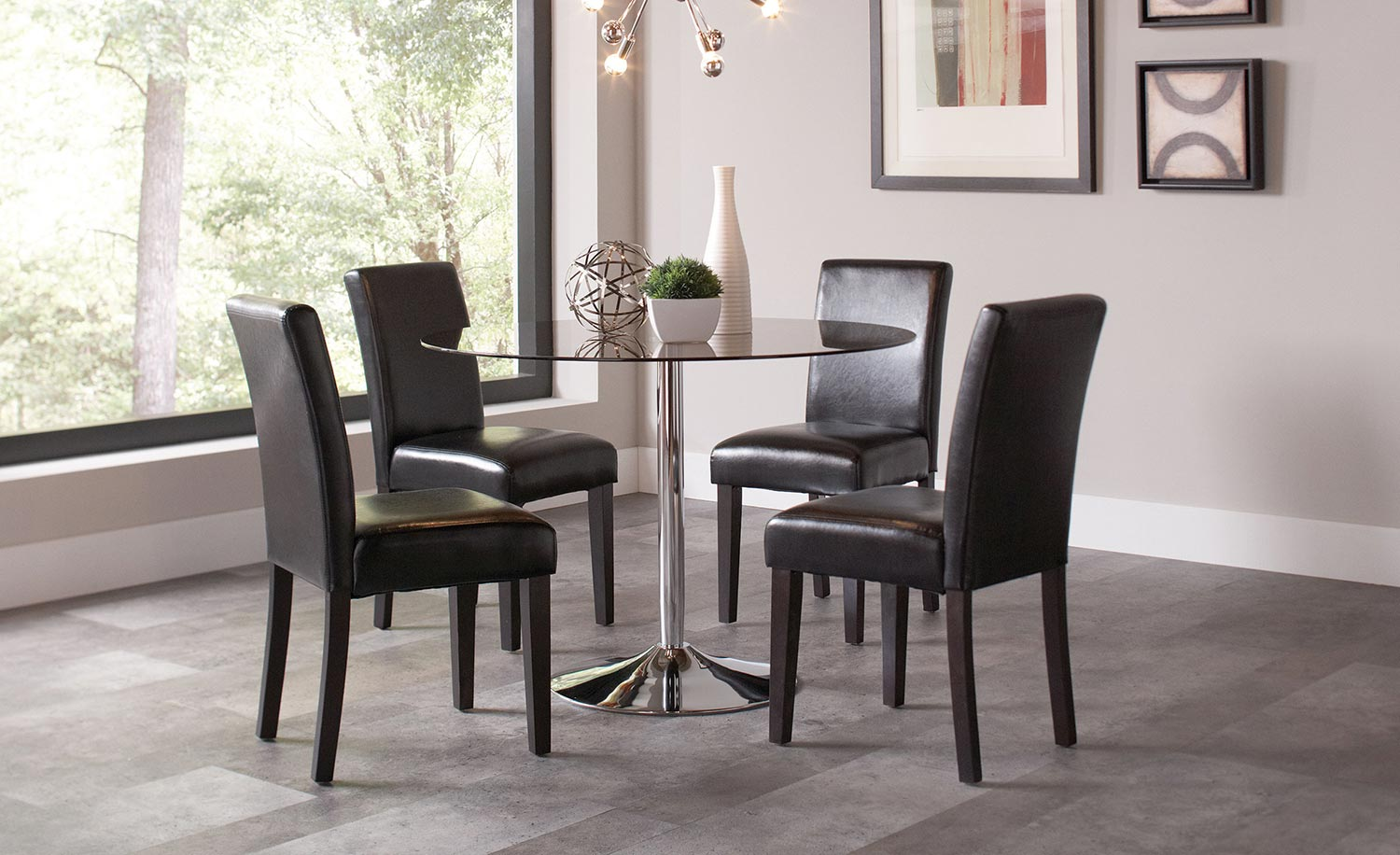 Coaster Clemente Round Glass Dining Set
