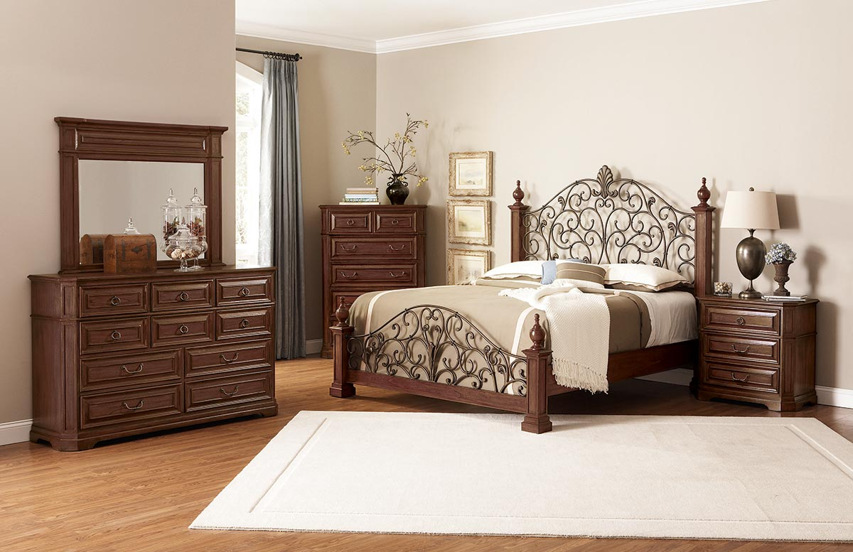 edgewood bedroom set with metal headboard cherry at best discount