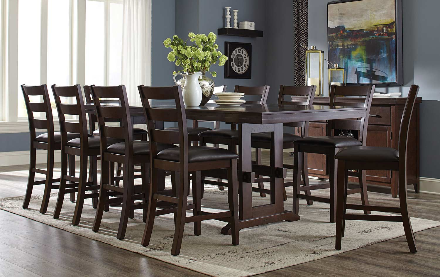 Coaster Holbrook Rectangular Counter Height Dining Set   Antique Tobacco