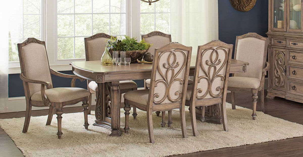 Coaster Iliana Rectangular Dining Set - Antique Linen