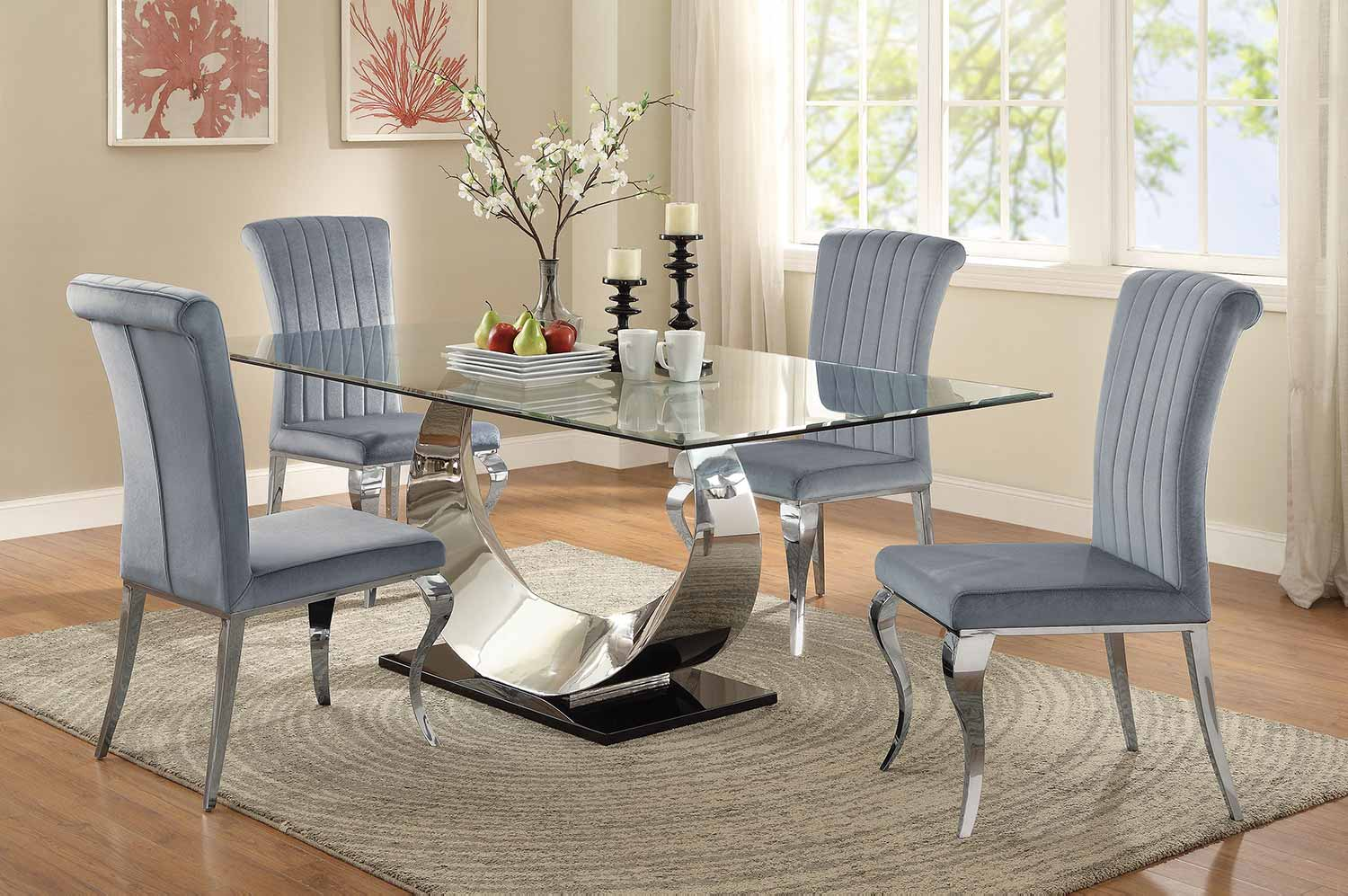 Genial Coaster Manessier Rectangular Glass Dining Set   Chrome