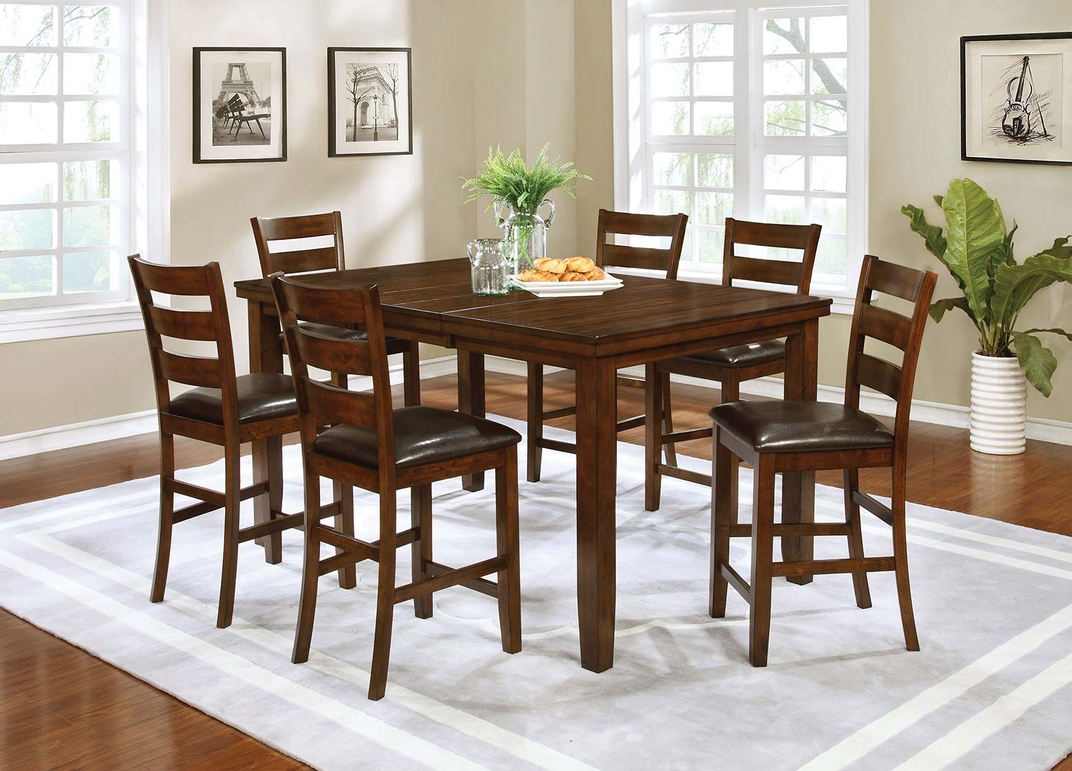 Coaster Maxwell Rectangular Counter Height Dining Set - Brown