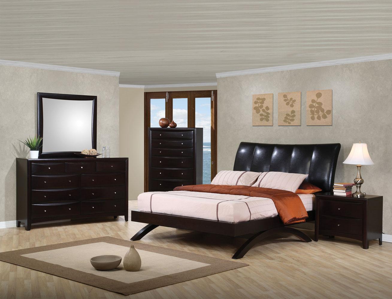 Coaster Phoenix Upholstered Bedroom Set - Deep Cappuccino