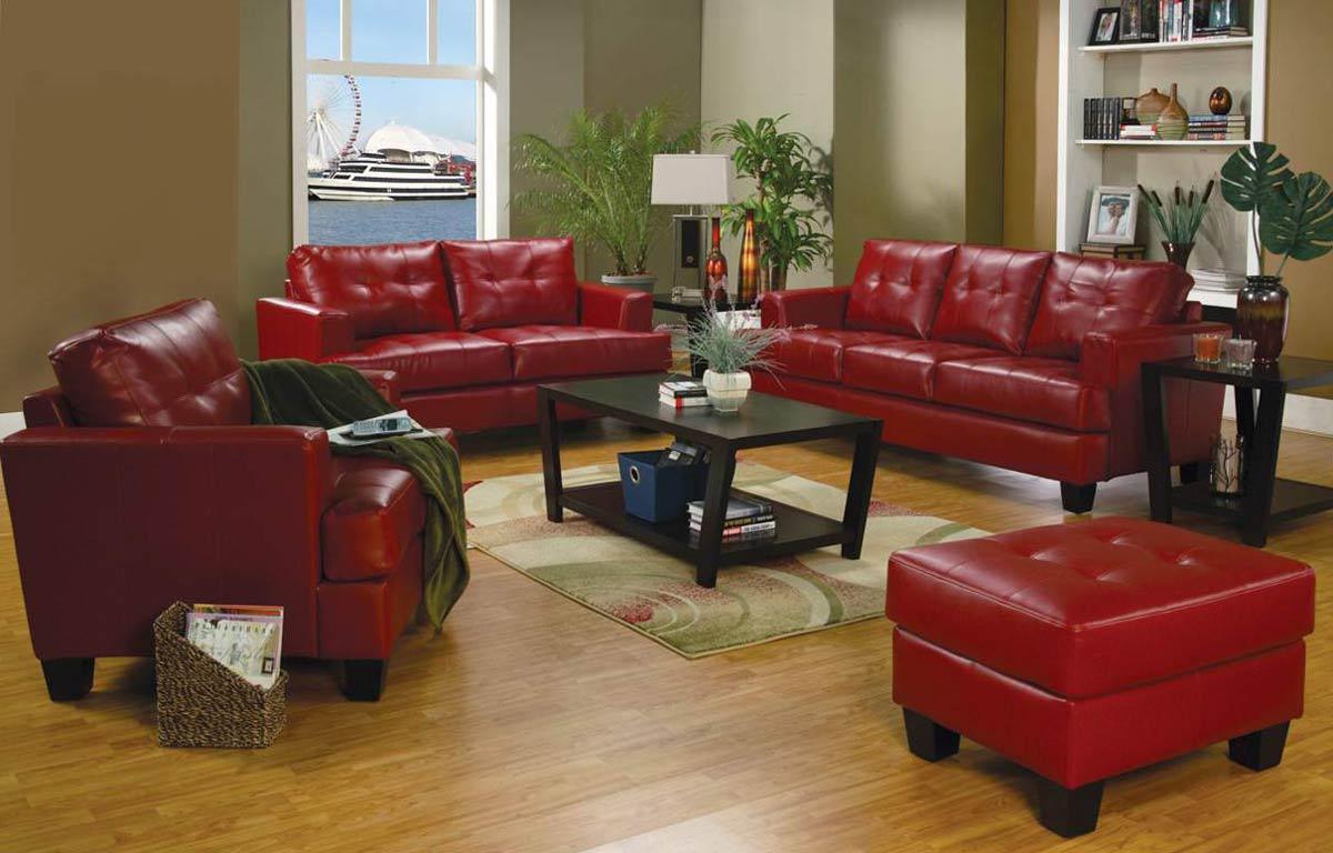 Coaster Samuel Sofa Set Red Samuel Sofa Set Red At