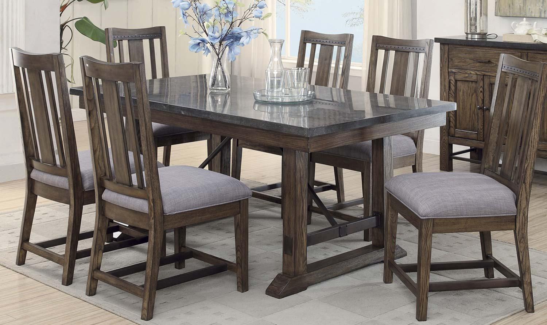 Coaster Willowbrook Rectangular Dining Set - Rustic Ash/Gunmetal