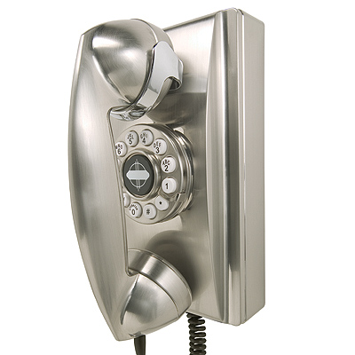 Photo of Crosley Crosley 302 Wall Phone-Brushed Chrome (Accent Furniture, Telephones, Pay Phone, Wall Phone, Desk Phone)