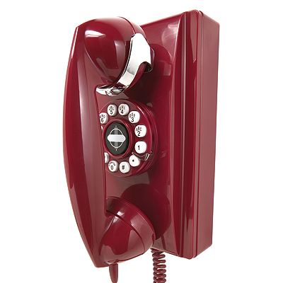 Photo of Crosley Crosley 302 Wall Phone-Red (Accent Furniture, Telephones, Pay Phone, Wall Phone, Desk Phone)