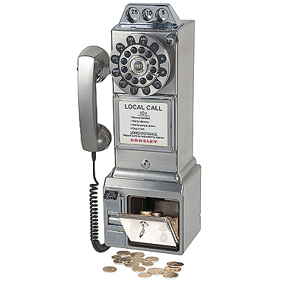 Crosley 1950s Classic Pay Phone-Brushed Chrome