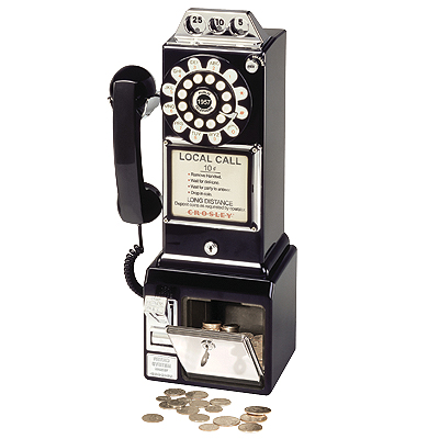 Crosley 1950s Classic Pay Phone-Black