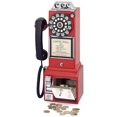 Crosley 1950s Classic Pay Phone-Red