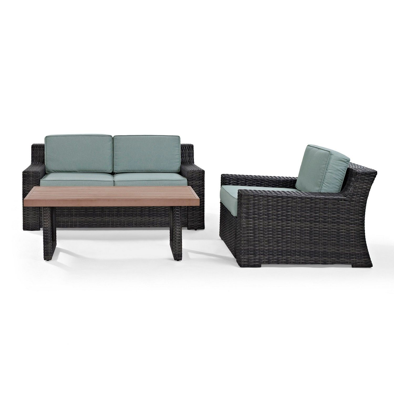 Crosley Beaufort 3-PC Outdoor Wicker Conversation Set - Loveseat, Chair, Coffee Table - Mist/Brown