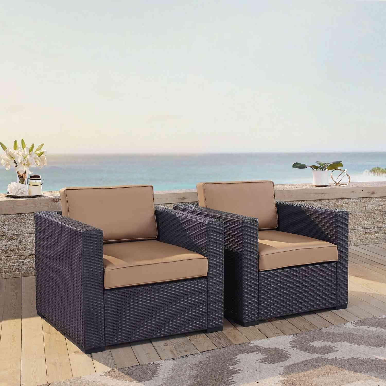 Crosley Biscayne Outdoor Wicker Chair - Set of 2 - Mocha/Brown